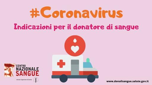 Coronavirus: indicazioni per la donazione del sangue